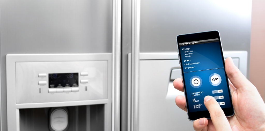 Smart fridge in modern kitchen