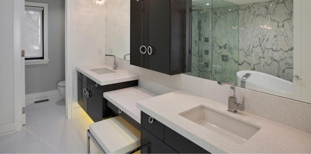 Corian countertop installed for modern master bathroom vanity