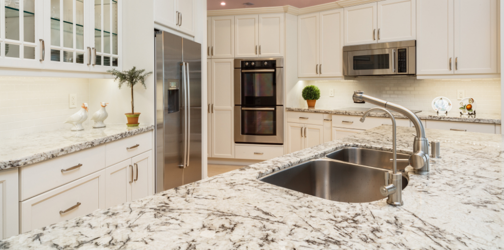 Speckled white color of corian in kitchen
