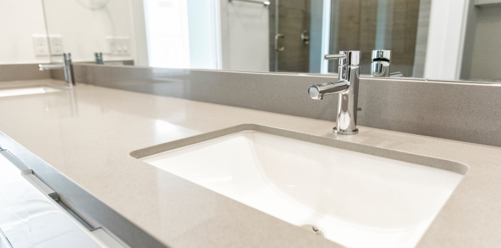 Gray master bathroom countertop with sleek design