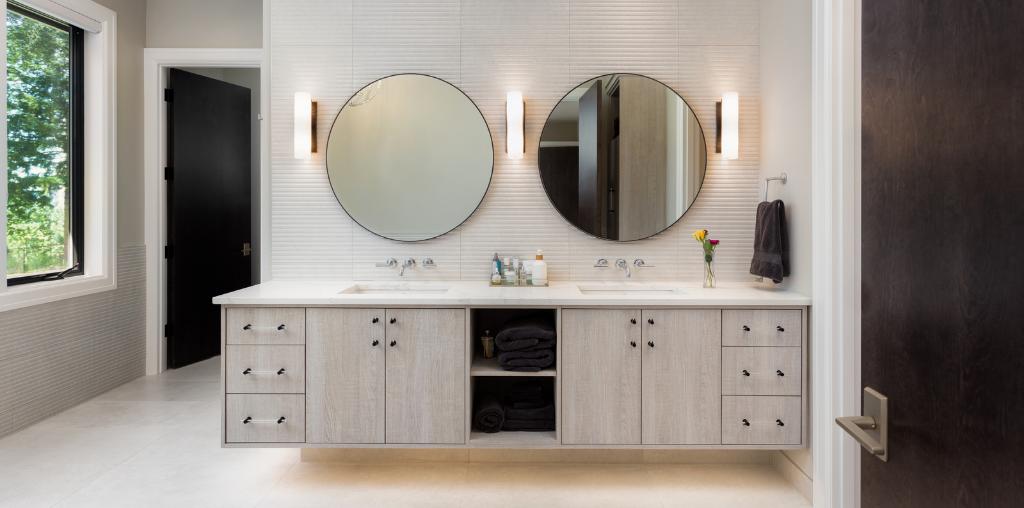 Floating vanity in master bathroom remodel