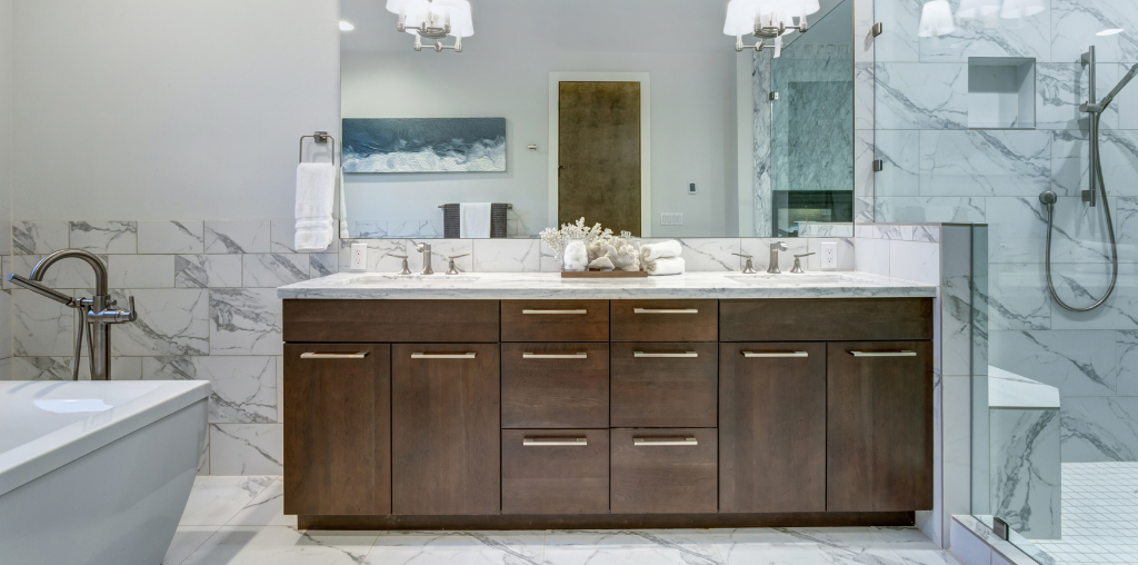 Master bathroom with modern cabinet hardware on vanity cabinets